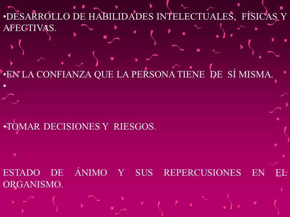 DESARROLLO DE HABILIDADES INTELECTUALES, FÍSICAS Y AFECTIVAS. EN LA CONFIANZA QUE LA PERSONA TIENE DE SÍ MISMA. TOMAR DECISIONES Y RIESGOS. ESTADO DE