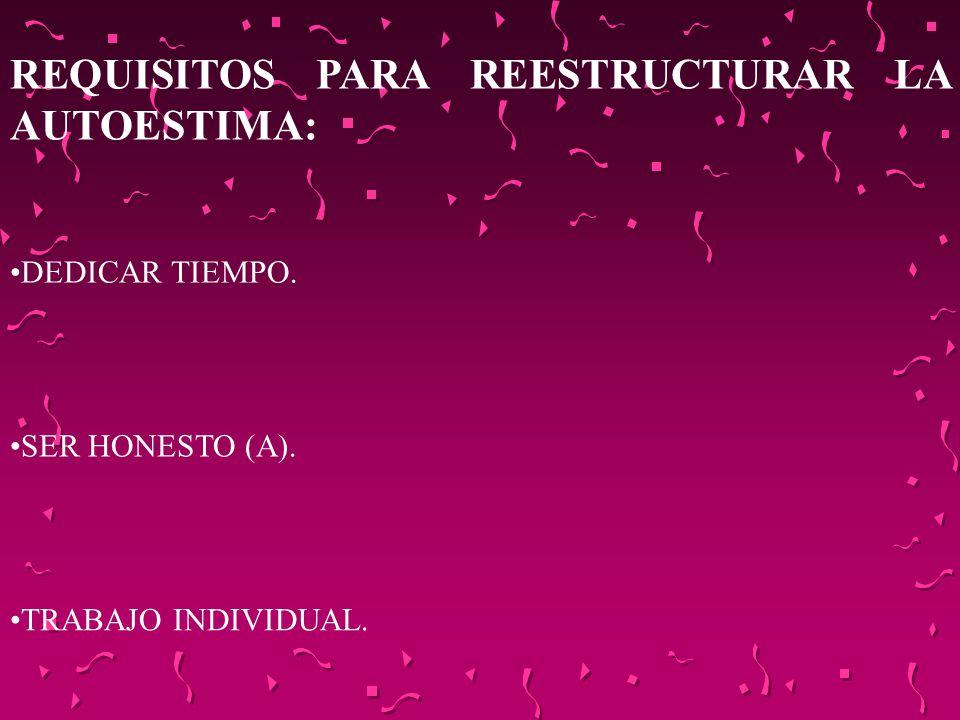 REQUISITOS PARA REESTRUCTURAR LA AUTOESTIMA: DEDICAR TIEMPO. SER HONESTO (A). TRABAJO INDIVIDUAL.