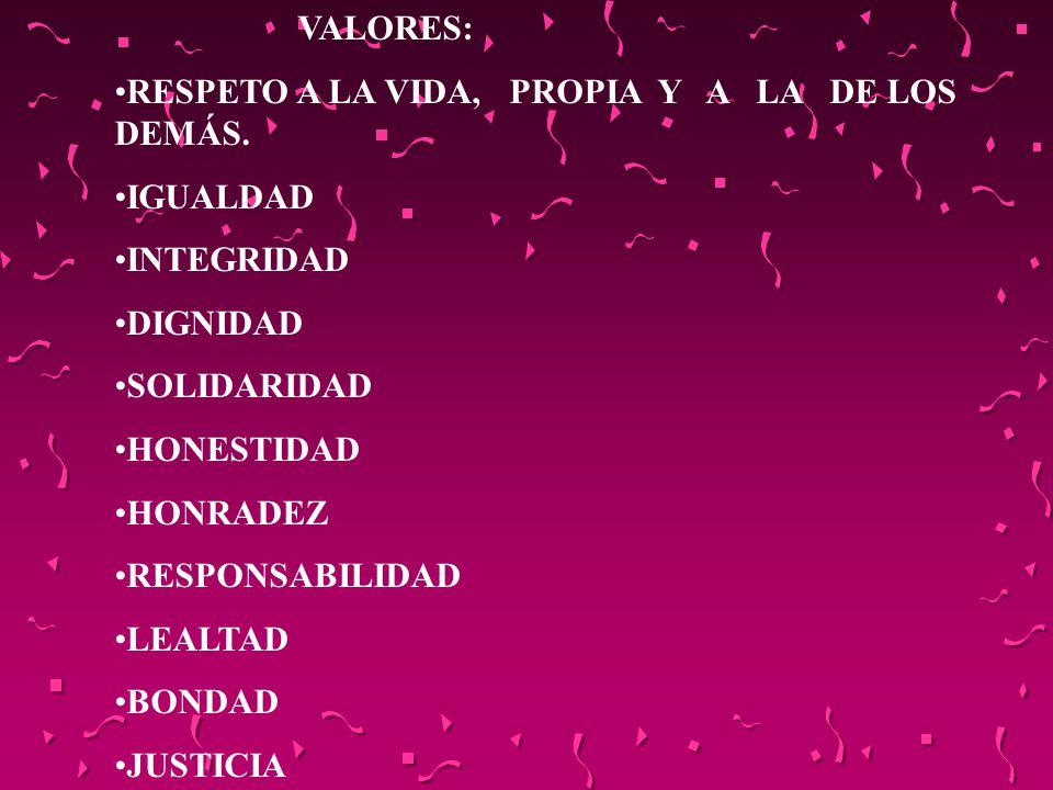 VALORES: RESPETO A LA VIDA, PROPIA Y A LA DE LOS DEMÁS. IGUALDAD INTEGRIDAD DIGNIDAD SOLIDARIDAD HONESTIDAD HONRADEZ RESPONSABILIDAD LEALTAD BONDAD JU
