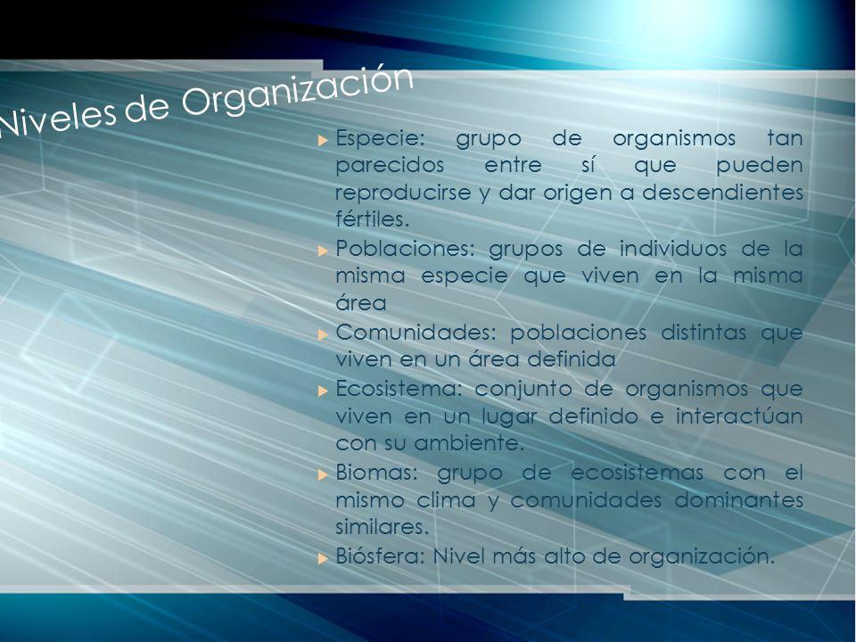 Especie: grupo de organismos tan parecidos entre sí que pueden reproducirse y dar origen a descendientes fértiles. Poblaciones: grupos de individuos d