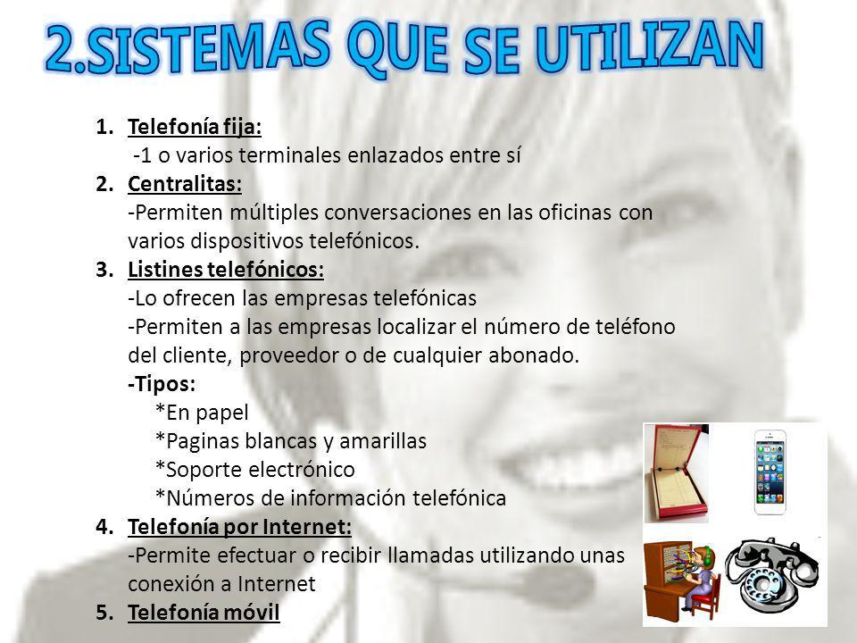 1.Telefonía fija: -1 o varios terminales enlazados entre sí 2.Centralitas: -Permiten múltiples conversaciones en las oficinas con varios dispositivos telefónicos.