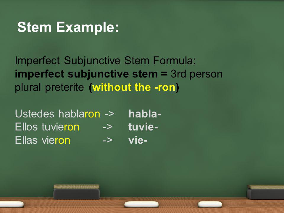 El imperfect de subjuntivo To conjugate a verb in the imperfect subjunctive, you must first remember the 3 rd person plural of the preterite.