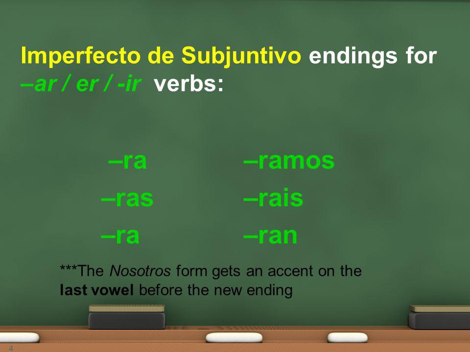 4 Imperfecto de Subjuntivo endings for –ar / er / -ir verbs: –ra –ras –ra –ramos –rais –ran ***The Nosotros form gets an accent on the last vowel before the new ending