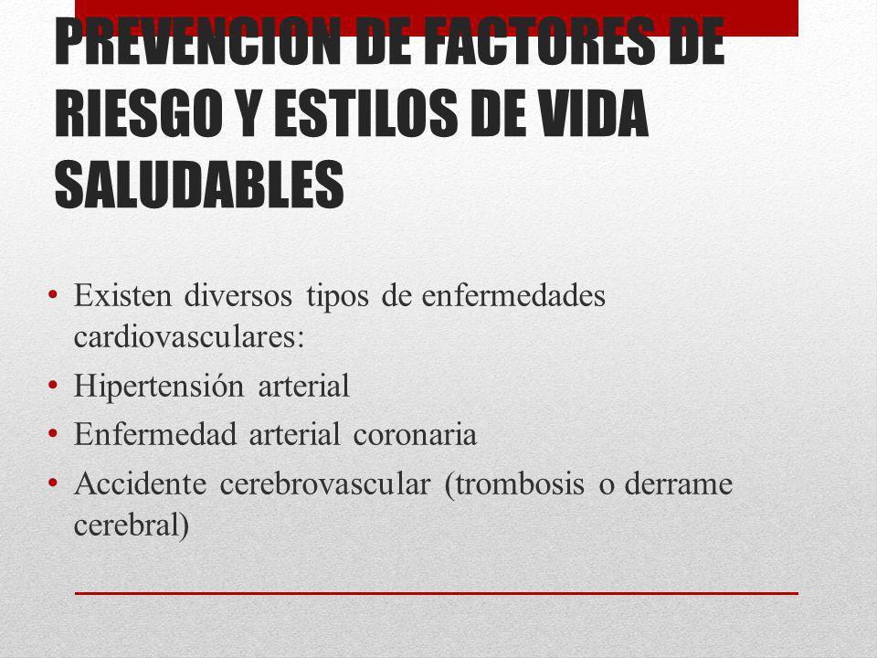 PREVENCION DE FACTORES DE RIESGO Y ESTILOS DE VIDA SALUDABLES Existen diversos tipos de enfermedades cardiovasculares: Hipertensión arterial Enfermeda
