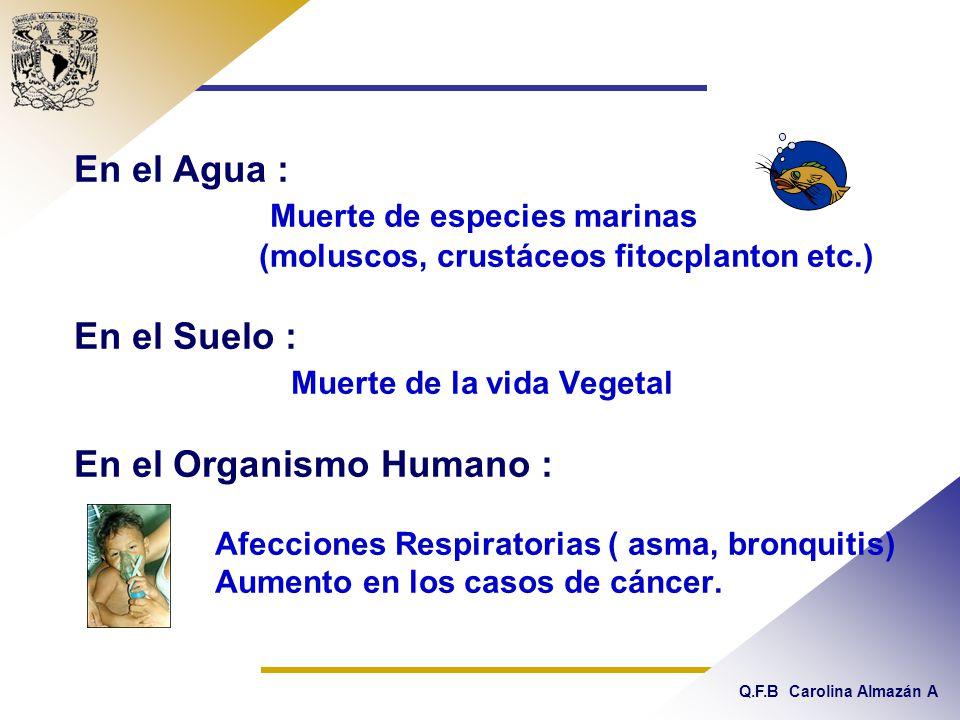 Q.F.B Carolina Almazán A En el Agua : Muerte de especies marinas (moluscos, crustáceos fitocplanton etc.) En el Suelo : Muerte de la vida Vegetal En el Organismo Humano : Afecciones Respiratorias ( asma, bronquitis) Aumento en los casos de cáncer.
