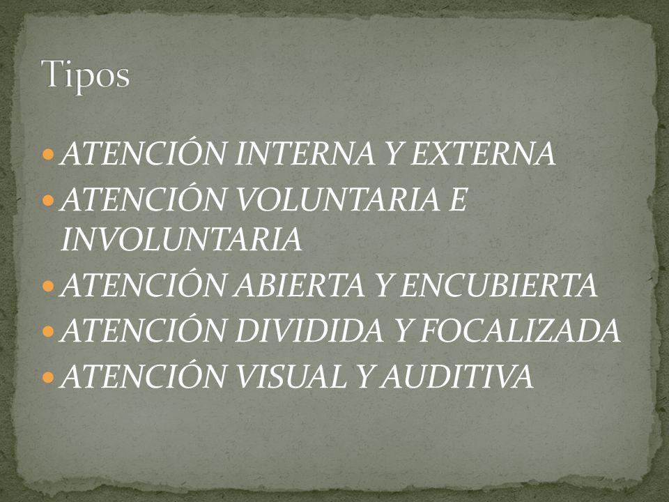 ATENCIÓN INTERNA Y EXTERNA ATENCIÓN VOLUNTARIA E INVOLUNTARIA ATENCIÓN ABIERTA Y ENCUBIERTA ATENCIÓN DIVIDIDA Y FOCALIZADA ATENCIÓN VISUAL Y AUDITIVA