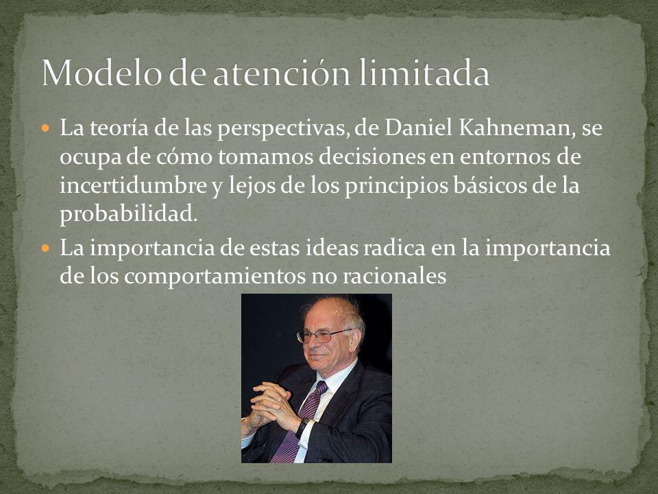 La teoría de las perspectivas, de Daniel Kahneman, se ocupa de cómo tomamos decisiones en entornos de incertidumbre y lejos de los principios básicos de la probabilidad.
