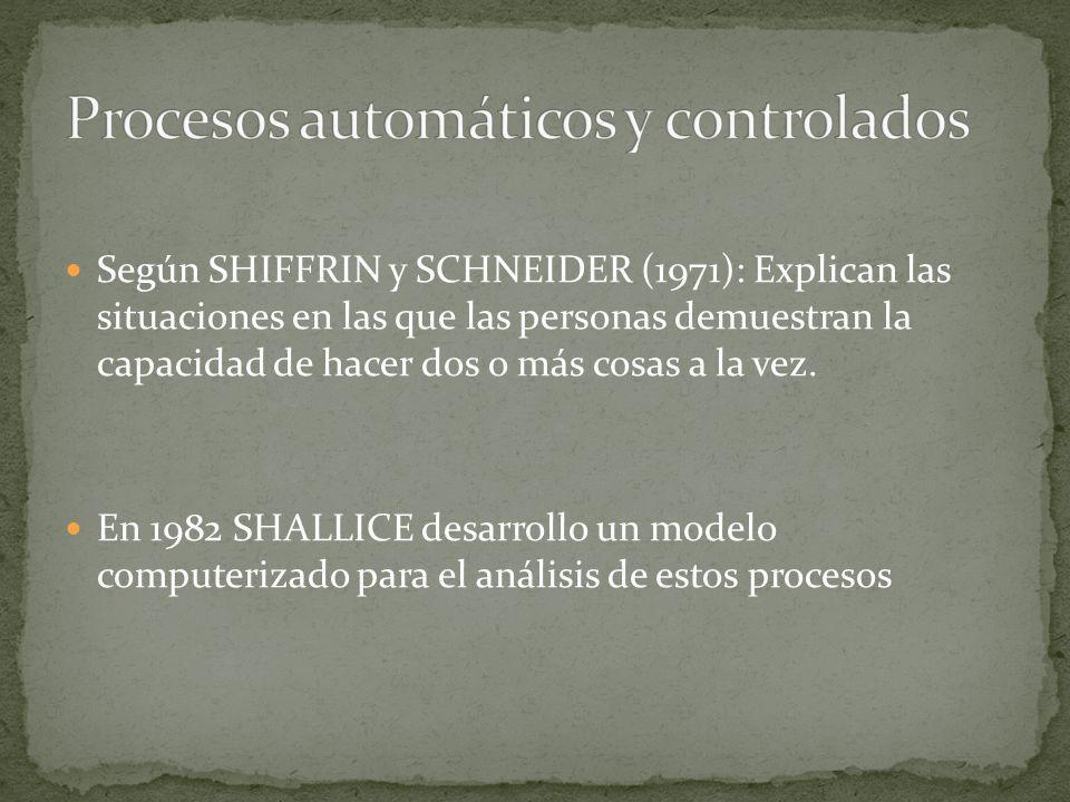 Según SHIFFRIN y SCHNEIDER (1971): Explican las situaciones en las que las personas demuestran la capacidad de hacer dos o más cosas a la vez. En 1982