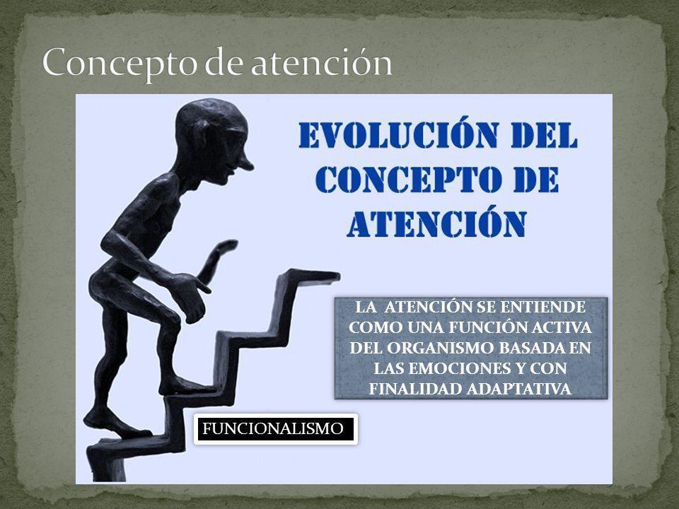 FUNCIONALISMO LA ATENCIÓN SE ENTIENDE COMO UNA FUNCIÓN ACTIVA DEL ORGANISMO BASADA EN LAS EMOCIONES Y CON FINALIDAD ADAPTATIVA
