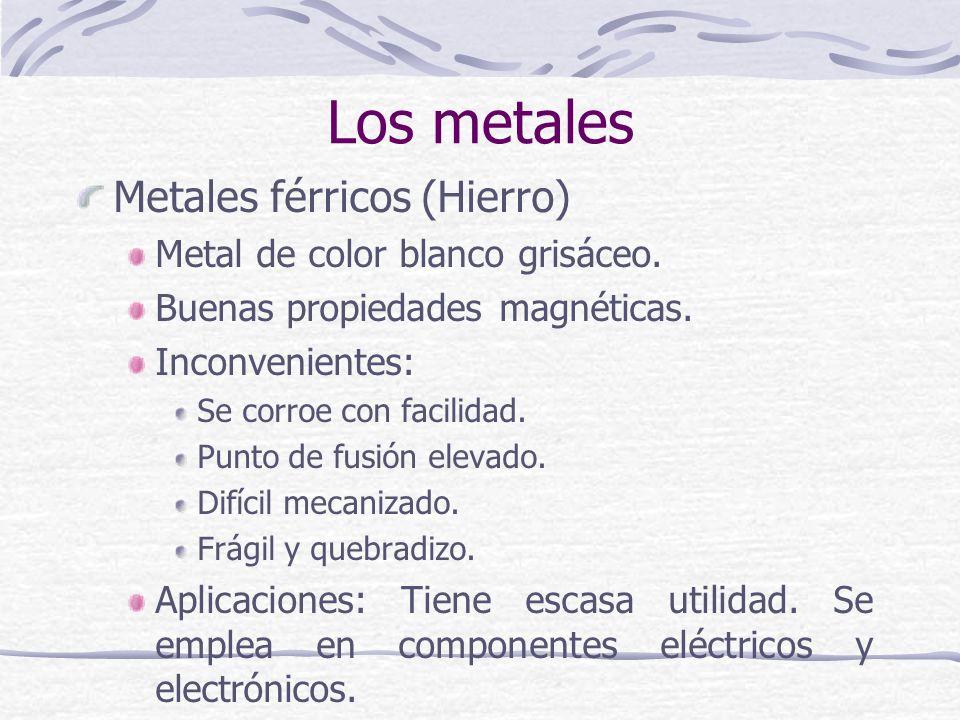 Metales férricos (Hierro) Metal de color blanco grisáceo. Buenas propiedades magnéticas. Inconvenientes: Se corroe con facilidad. Punto de fusión elev