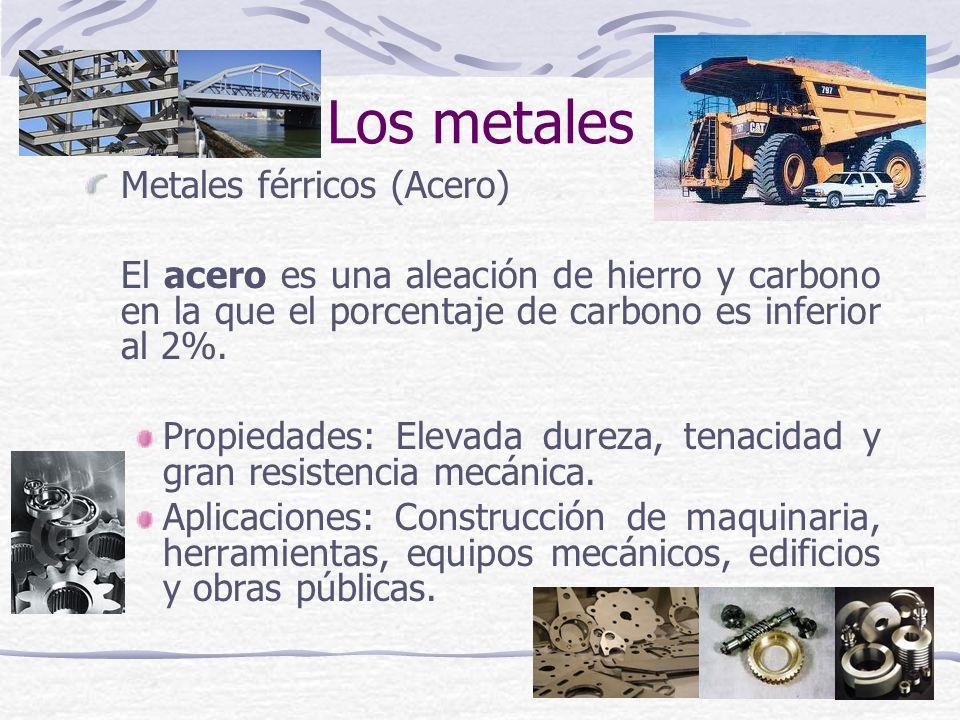 Metales férricos (Acero) El acero es una aleación de hierro y carbono en la que el porcentaje de carbono es inferior al 2%. Propiedades: Elevada durez