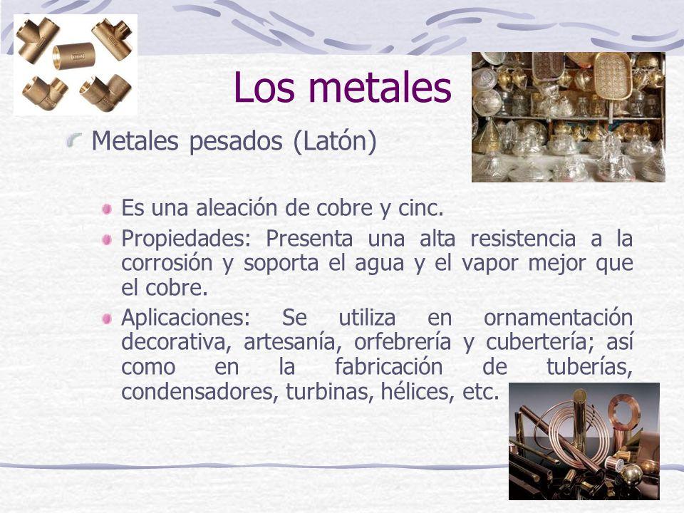 Metales pesados (Latón) Es una aleación de cobre y cinc. Propiedades: Presenta una alta resistencia a la corrosión y soporta el agua y el vapor mejor