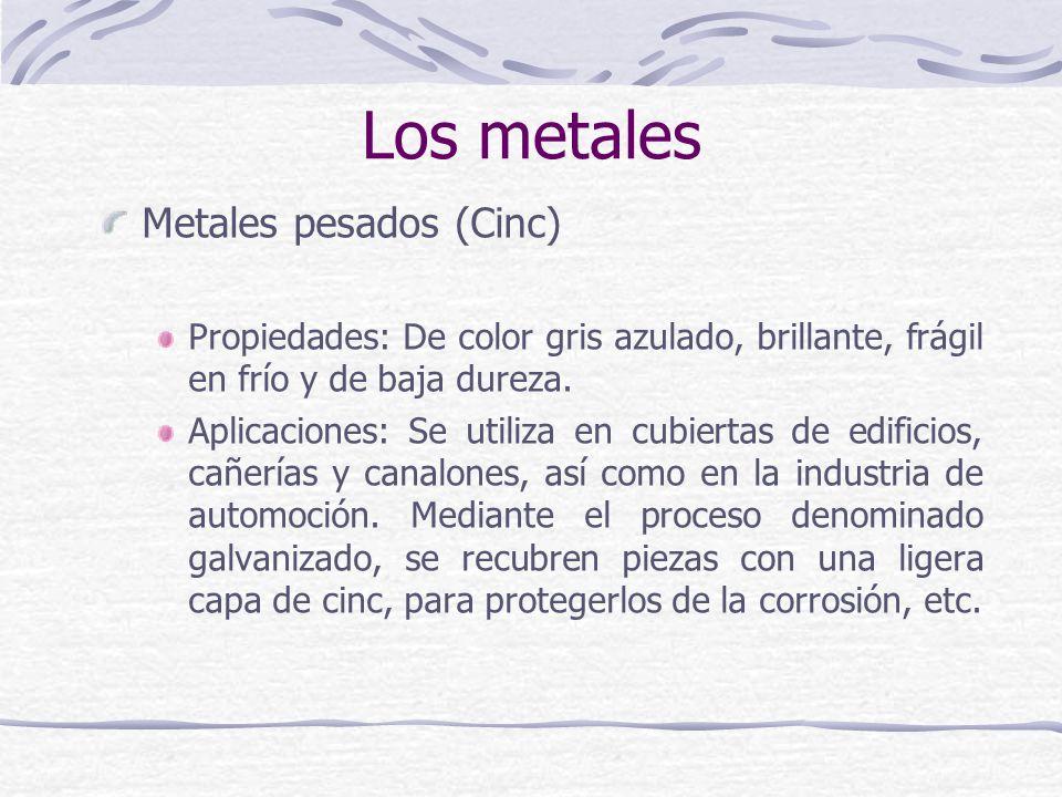 Metales pesados (Cinc) Propiedades: De color gris azulado, brillante, frágil en frío y de baja dureza. Aplicaciones: Se utiliza en cubiertas de edific