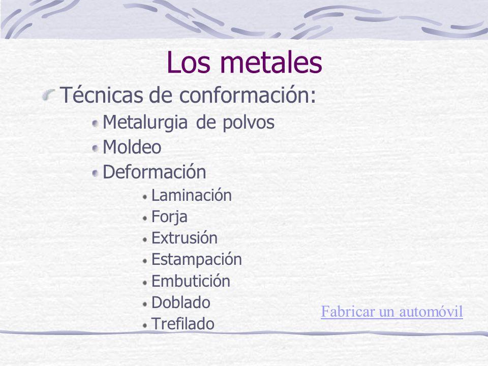 Técnicas de conformación: Metalurgia de polvos Moldeo Deformación Laminación Forja Extrusión Estampación Embutición Doblado Trefilado Los metales Fabr