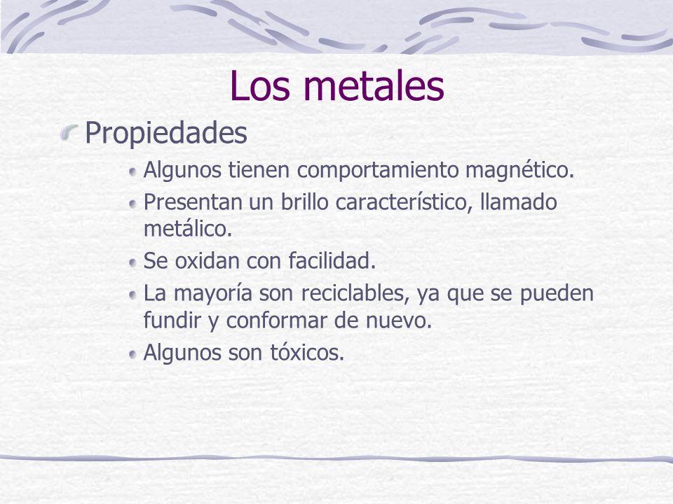 Propiedades Algunos tienen comportamiento magnético. Presentan un brillo característico, llamado metálico. Se oxidan con facilidad. La mayoría son rec