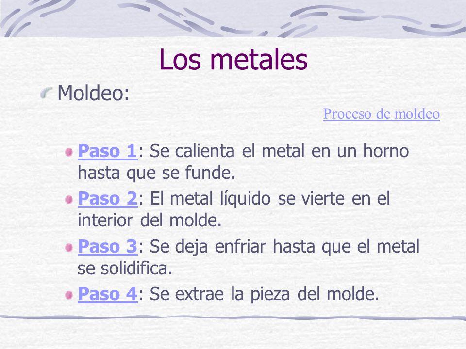 Moldeo: Paso 1Paso 1: Se calienta el metal en un horno hasta que se funde. Paso 2Paso 2: El metal líquido se vierte en el interior del molde. Paso 3Pa