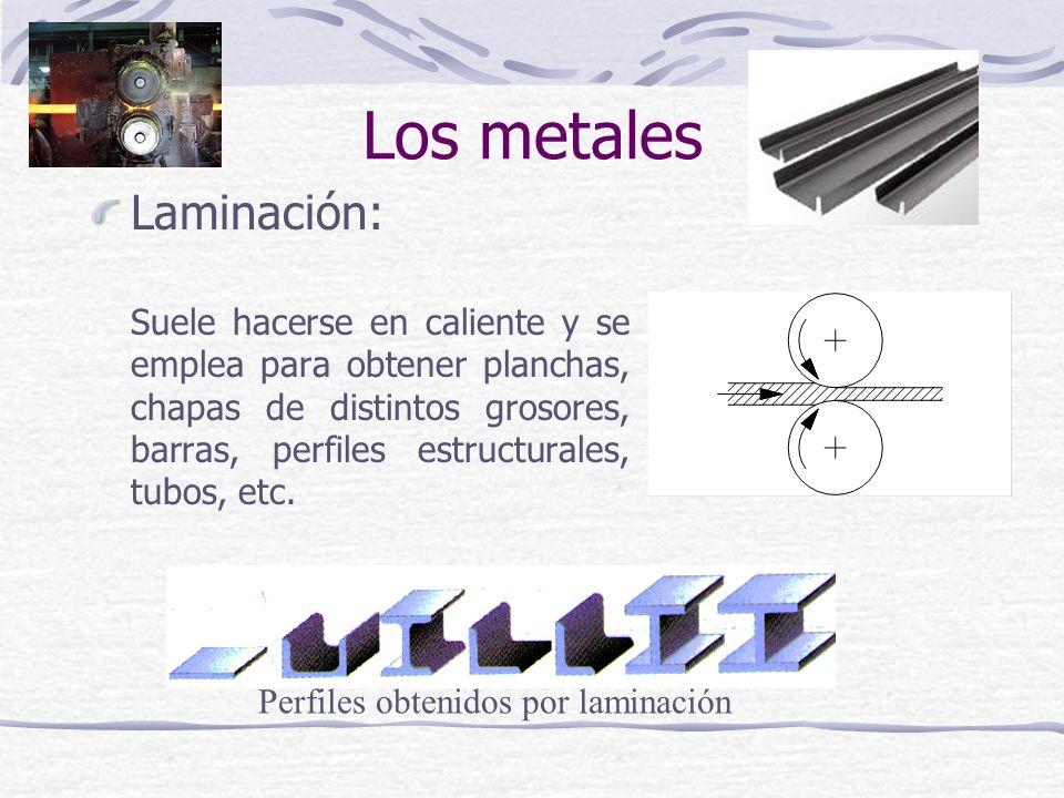 Laminación: Suele hacerse en caliente y se emplea para obtener planchas, chapas de distintos grosores, barras, perfiles estructurales, tubos, etc. Per