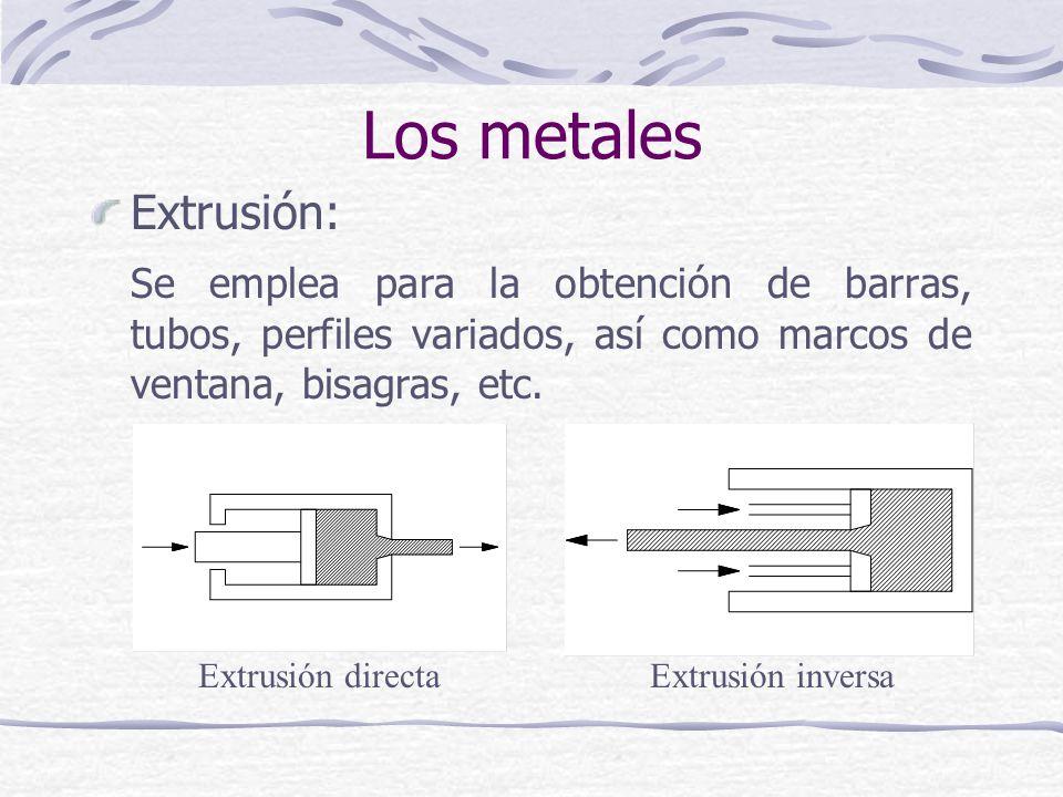 Extrusión: Se emplea para la obtención de barras, tubos, perfiles variados, así como marcos de ventana, bisagras, etc. Extrusión directaExtrusión inve