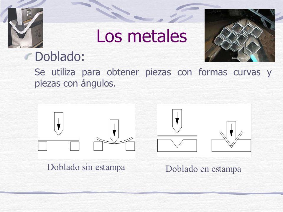 Doblado: Se utiliza para obtener piezas con formas curvas y piezas con ángulos. Doblado en estampa Doblado sin estampa Los metales