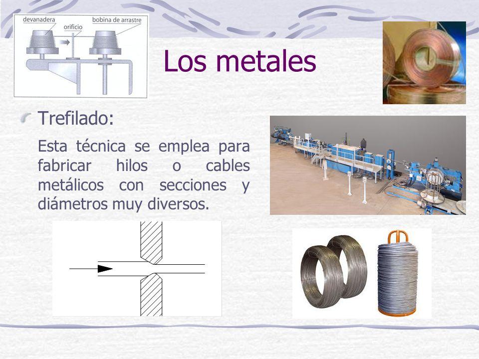 Trefilado: Esta técnica se emplea para fabricar hilos o cables metálicos con secciones y diámetros muy diversos. Los metales