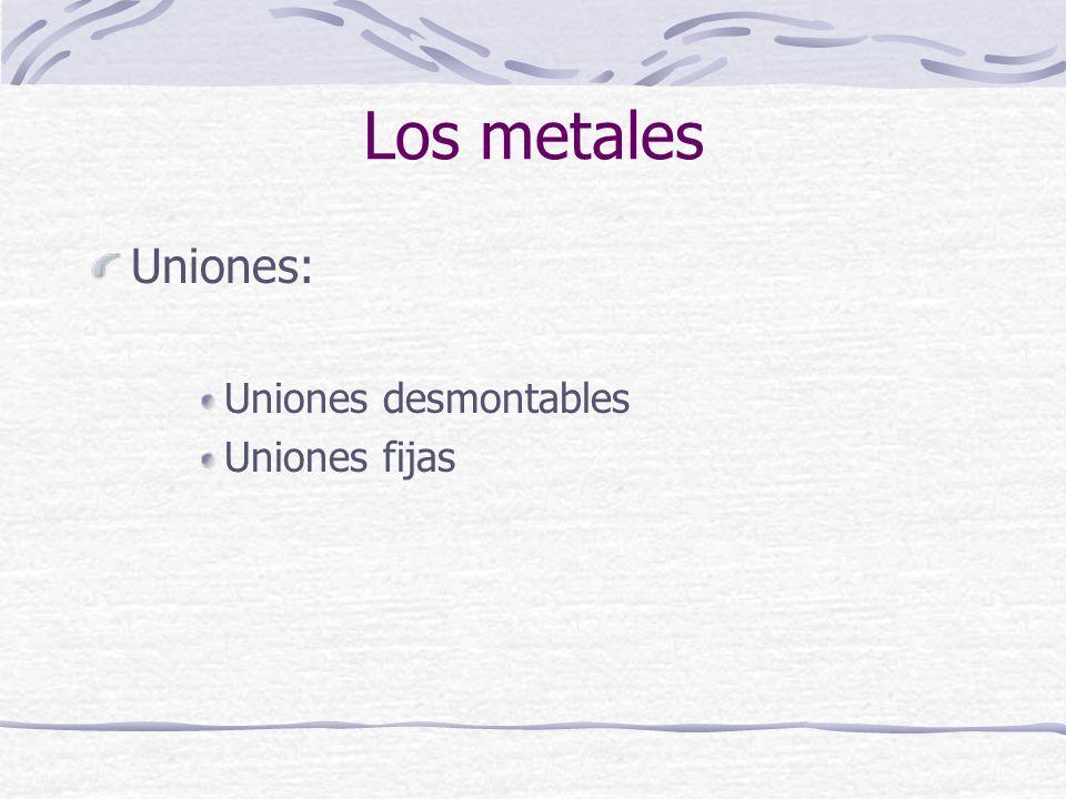 Uniones: Uniones desmontables Uniones fijas Los metales