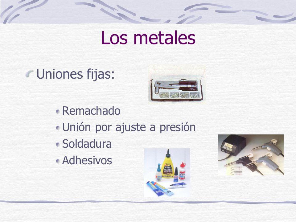 Uniones fijas: Remachado Unión por ajuste a presión Soldadura Adhesivos Los metales