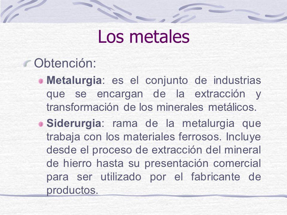 Obtención: Metalurgia: es el conjunto de industrias que se encargan de la extracción y transformación de los minerales metálicos. Siderurgia: rama de