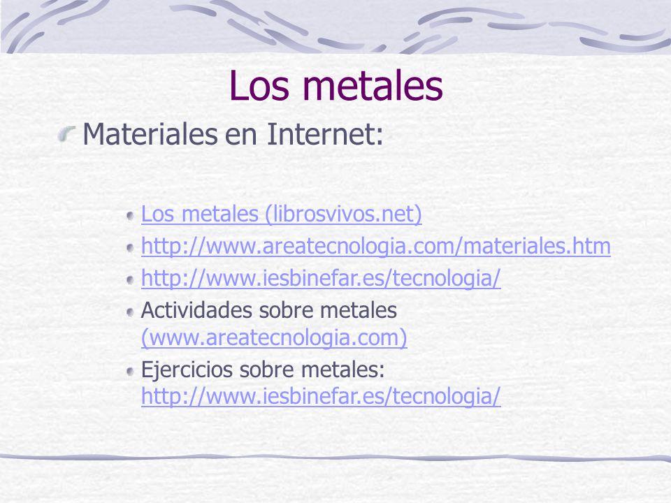 Los metales Materiales en Internet: Los metales (librosvivos.net) http://www.areatecnologia.com/materiales.htm http://www.iesbinefar.es/tecnologia/ Ac