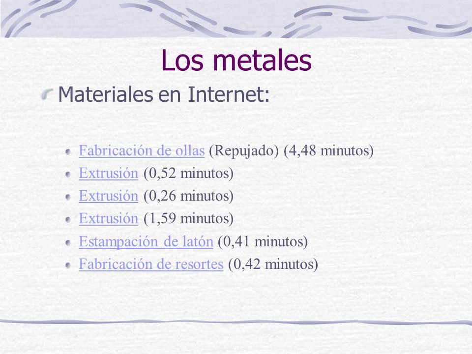Los metales Materiales en Internet: Fabricación de ollasFabricación de ollas (Repujado) (4,48 minutos) ExtrusiónExtrusión (0,52 minutos) ExtrusiónExtr