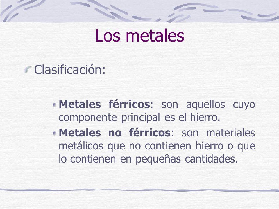 Clasificación: Metales férricos: son aquellos cuyo componente principal es el hierro. Metales no férricos: son materiales metálicos que no contienen h