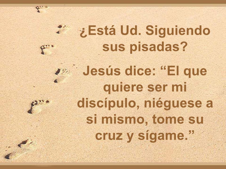¿Está Ud. Siguiendo sus pisadas? Jesús dice: El que quiere ser mi discípulo, niéguese a si mismo, tome su cruz y sígame.
