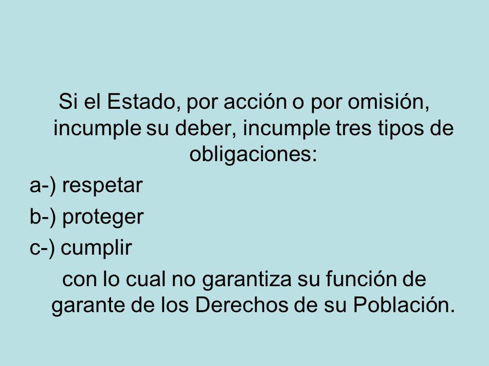 Si el Estado, por acción o por omisión, incumple su deber, incumple tres tipos de obligaciones: a-) respetar b-) proteger c-) cumplir con lo cual no garantiza su función de garante de los Derechos de su Población.