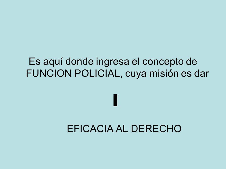 Es aquí donde ingresa el concepto de FUNCION POLICIAL, cuya misión es dar EFICACIA AL DERECHO