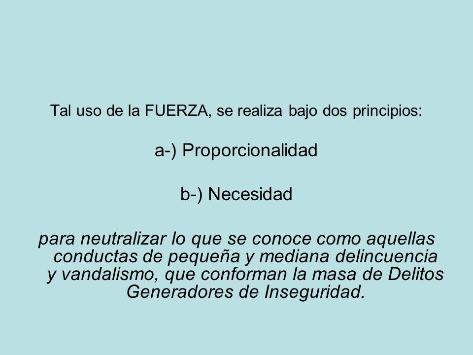 Tal uso de la FUERZA, se realiza bajo dos principios: a-) Proporcionalidad b-) Necesidad para neutralizar lo que se conoce como aquellas conductas de