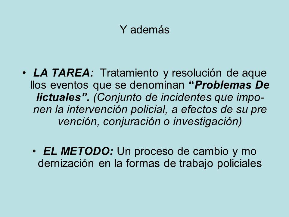 Y además LA TAREA: Tratamiento y resolución de aque llos eventos que se denominan Problemas De lictuales. (Conjunto de incidentes que impo- nen la int