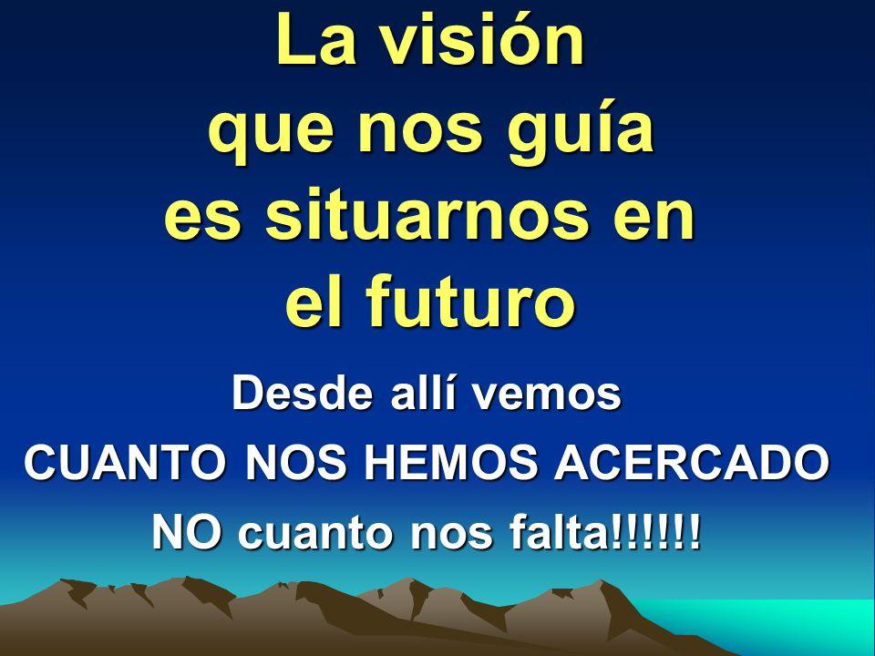 La visión que nos guía es situarnos en el futuro Desde allí vemos CUANTO NOS HEMOS ACERCADO NO cuanto nos falta!!!!!!