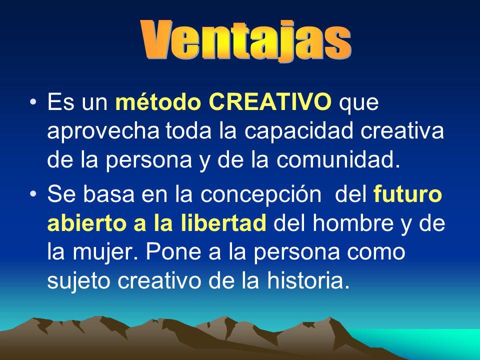 Es un método CREATIVO que aprovecha toda la capacidad creativa de la persona y de la comunidad. Se basa en la concepción del futuro abierto a la liber