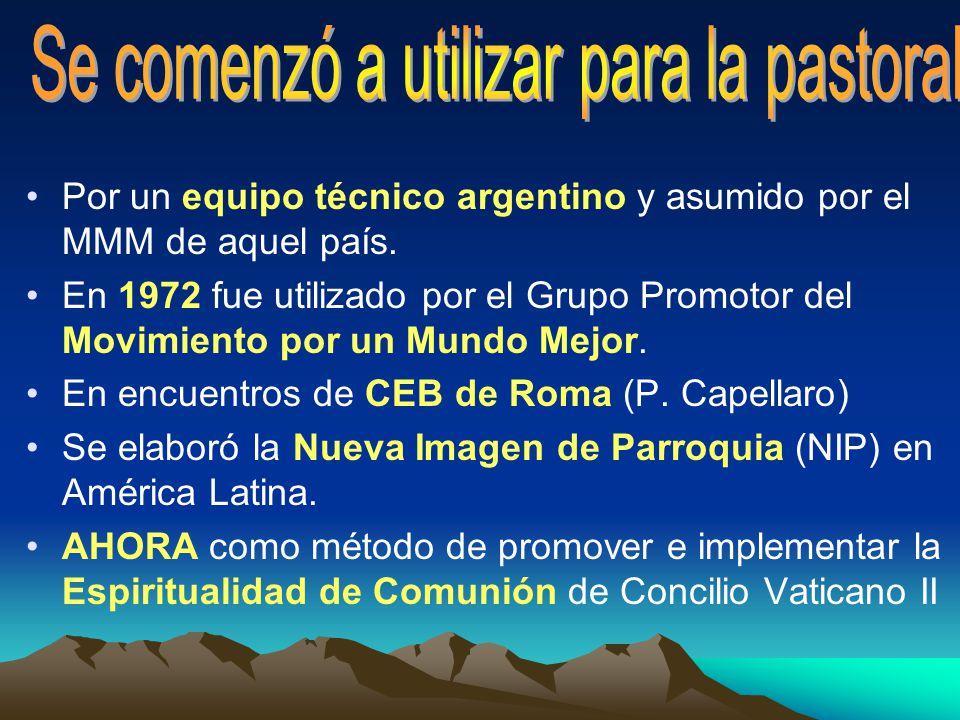 Por un equipo técnico argentino y asumido por el MMM de aquel país. En 1972 fue utilizado por el Grupo Promotor del Movimiento por un Mundo Mejor. En