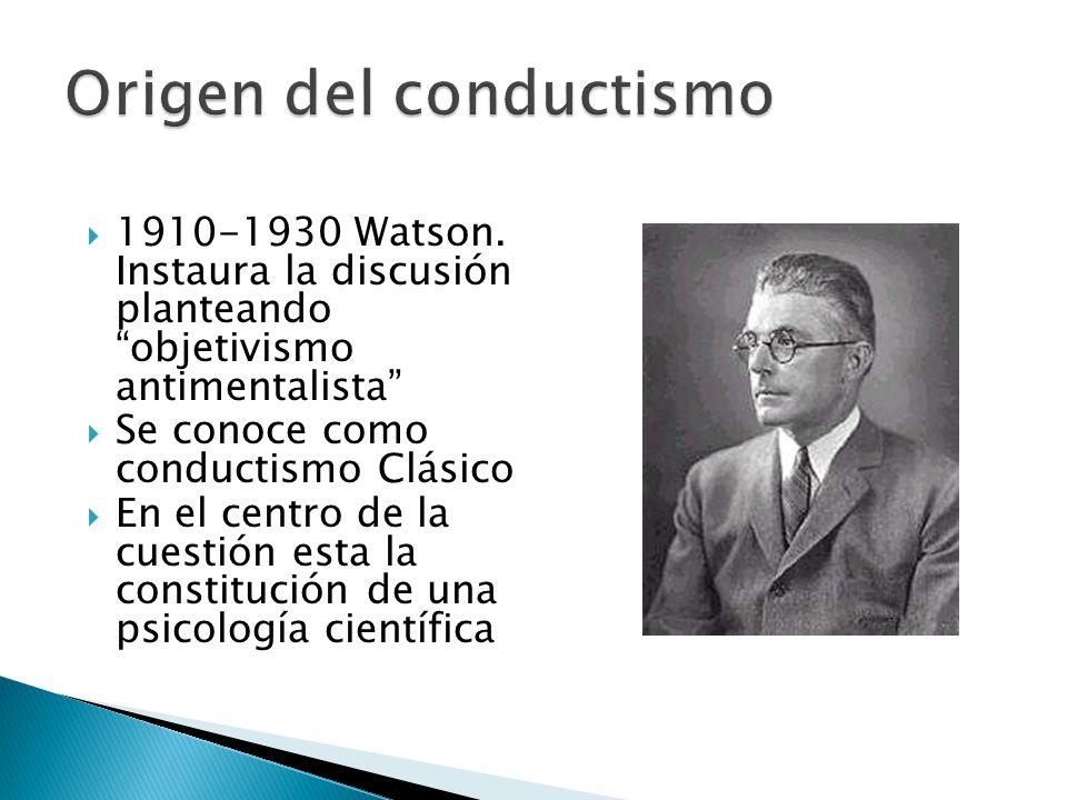 1910-1930 Watson. Instaura la discusión planteando objetivismo antimentalista Se conoce como conductismo Clásico En el centro de la cuestión esta la c