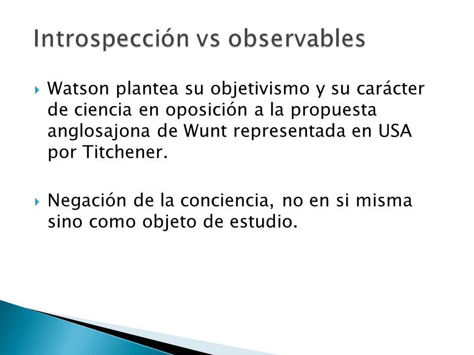 Watson plantea su objetivismo y su carácter de ciencia en oposición a la propuesta anglosajona de Wunt representada en USA por Titchener. Negación de