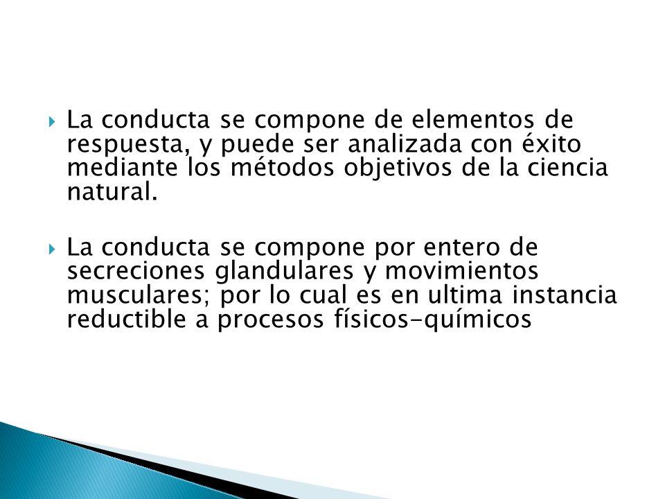 La conducta se compone de elementos de respuesta, y puede ser analizada con éxito mediante los métodos objetivos de la ciencia natural. La conducta se
