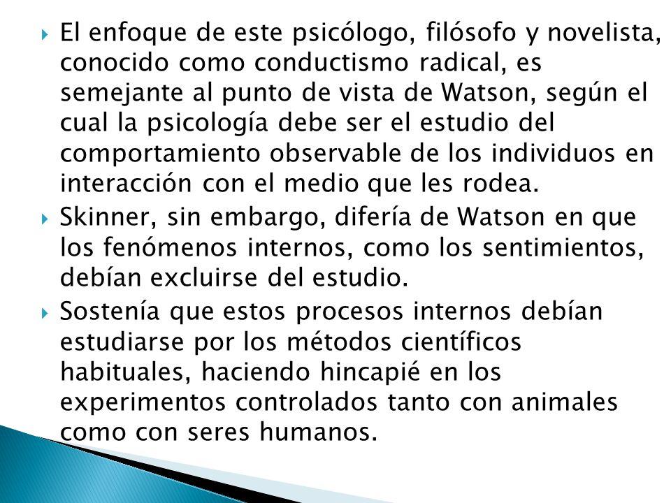 El enfoque de este psicólogo, filósofo y novelista, conocido como conductismo radical, es semejante al punto de vista de Watson, según el cual la psic