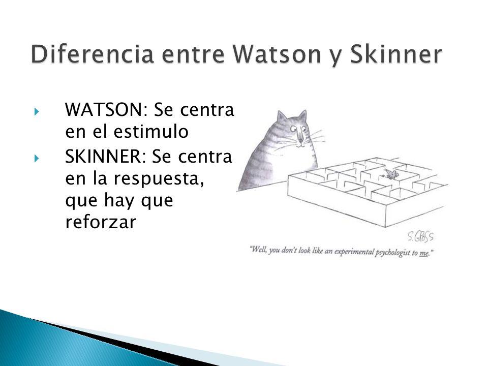 WATSON: Se centra en el estimulo SKINNER: Se centra en la respuesta, que hay que reforzar