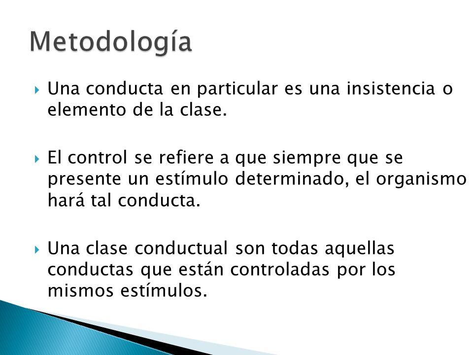 Una conducta en particular es una insistencia o elemento de la clase. El control se refiere a que siempre que se presente un estímulo determinado, el