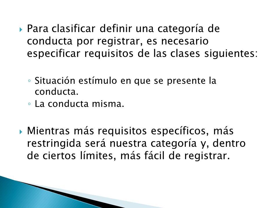 Para clasificar definir una categoría de conducta por registrar, es necesario especificar requisitos de las clases siguientes: Situación estímulo en q