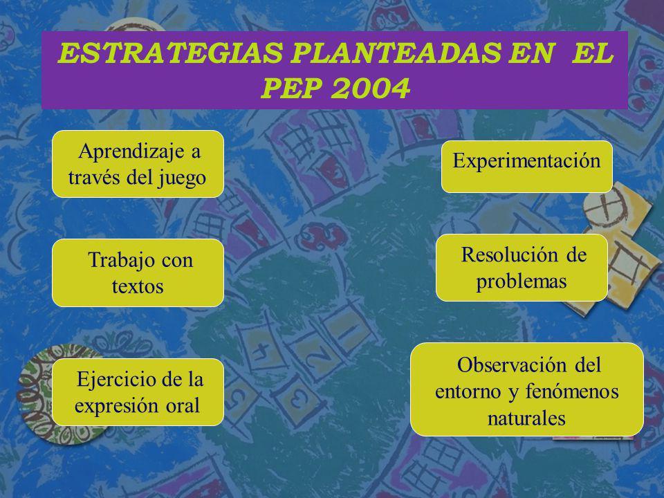 ESTRATEGIAS PLANTEADAS EN EL PEP 2004 Aprendizaje a través del juego Trabajo con textos Ejercicio de la expresión oral Experimentación Resolución de p