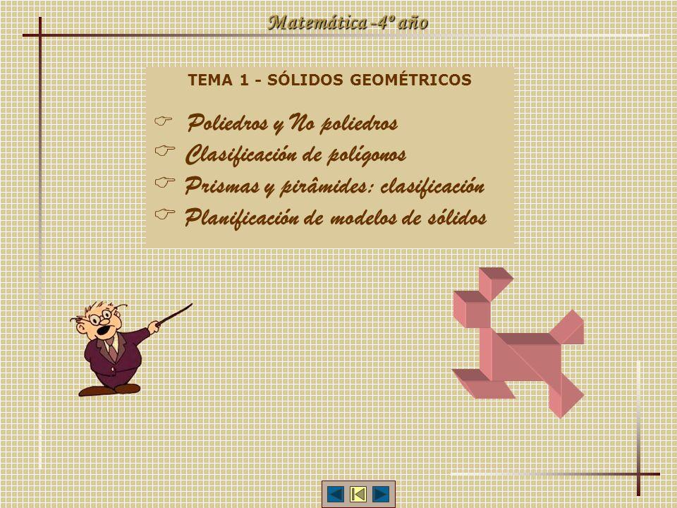Matemática -4º año TEMA 1 - SÓLIDOS GEOMÉTRICOS Poliedros y No poliedros Clasificación de polígonos Prismas y pirâmides: clasificación Planificación de modelos de sólidos