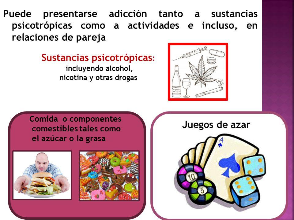Puede presentarse adicción tanto a sustancias psicotrópicas como a actividades e incluso, en relaciones de pareja Sustancias psicotrópicas : incluyend