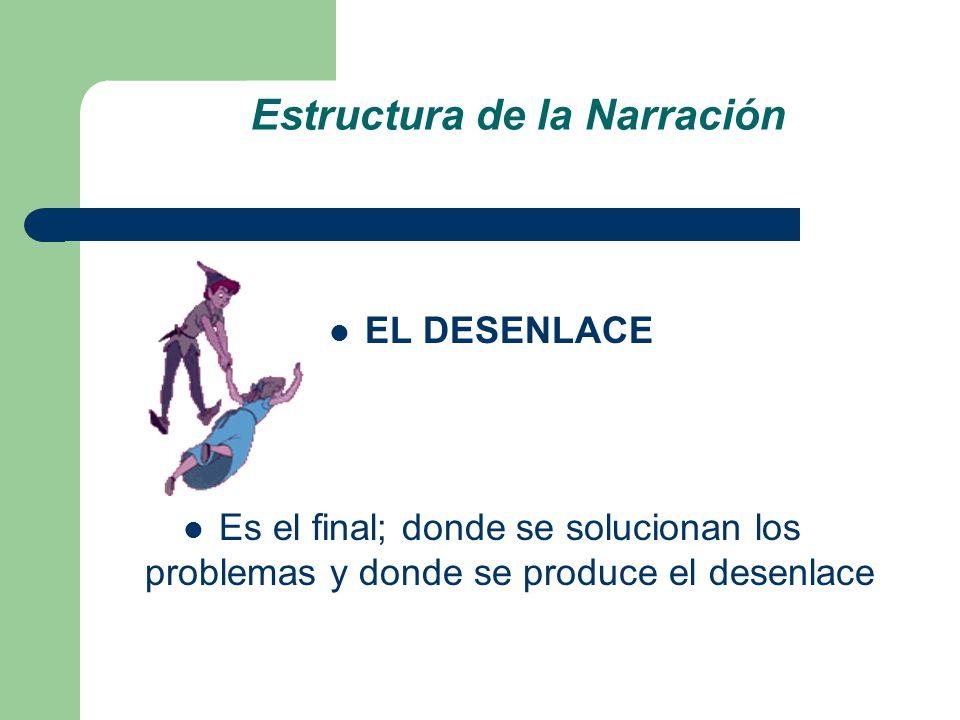 Estructura de la Narración EL DESENLACE Es el final; donde se solucionan los problemas y donde se produce el desenlace