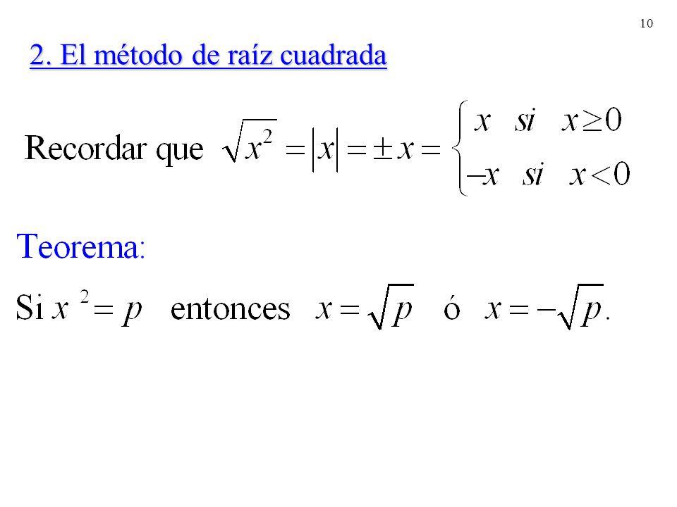 10 2. El método de raíz cuadrada
